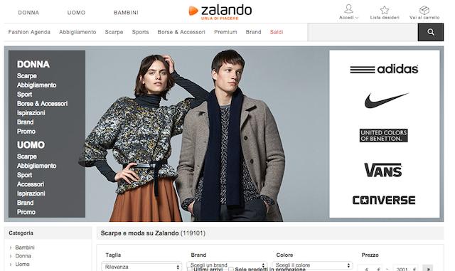 ZALANDO, uno dei siti più famosi in fatto d shopping d'abbigliamento