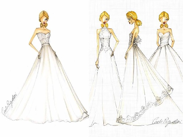 Bozzetti degli abiti realizzati da Carlo Pignatelli per le debuttanti