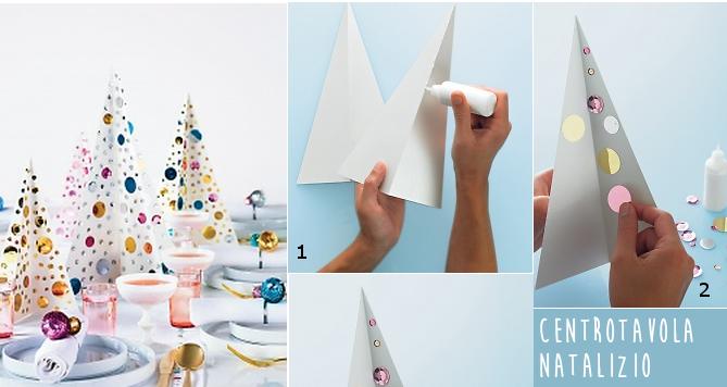 Centrotavola natalizio fai da te albero di natale con paillettes - Centro tavolo fai da te ...
