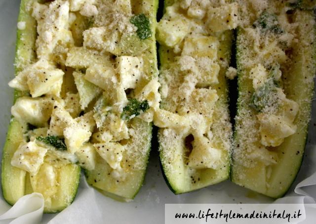 Zucchine ripiene con cuore filante di formaggio