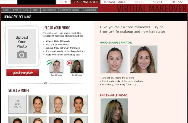 Taaz.com - Virtual Makeover